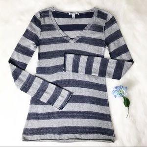 💕Autumn Cashmere Striped V Neck Sweater - Small